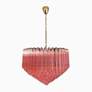 Modern Quadriedri Murano Glass Chandelier with 265 Amber Prisms and Gold Frame, 1982