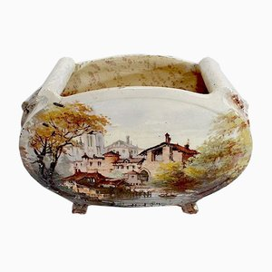 Painted Ceramic Planter by E. Gilles, 19th Century