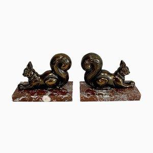 Fermalibri a forma di scoiattoli, 1920, set di 2
