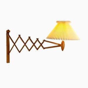 Lampada a forbice grande in quercia di Le Klint, Danimarca, anni '50