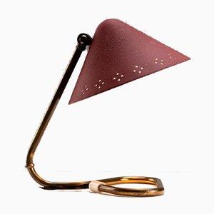 Lampe de Bureau en Aluminium Rouge et Laiton par Gnosjö Konstsmide, Suède, 1950s