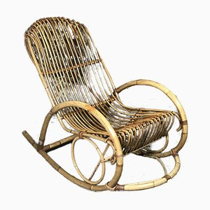 Vintage Rocking Chair in Rattan and Bamboo by Rohé Noordwolde, 1960