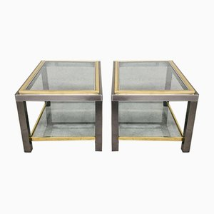 2-Tier Side Table Set in the Style of Willy Rizzo, 1970s, Set of 2