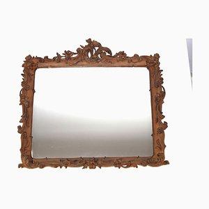 Cornice in legno intagliato con specchio, fine XIX secolo
