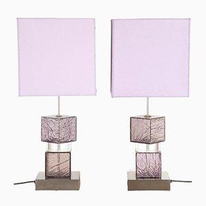 Lampade in perspex lilla, Italia, set di 2