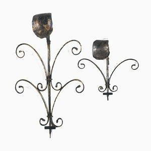 Applique da parete in ferro battuto fatte a mano, set di 2