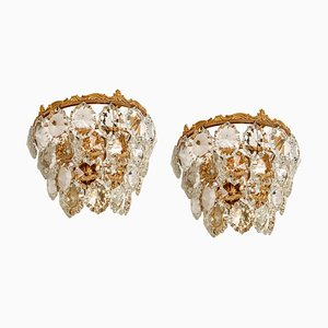 Ceiling Lamps in Brass and Crystal Glass from Bakalowits & Söhne, Austria, 1960s, Set of 2
