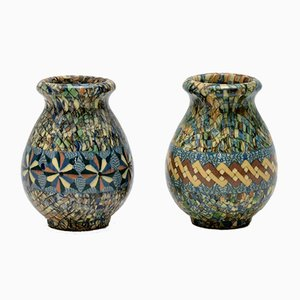 Keramikvasen mit Mosaik von Jean Gerbino für Vallauris, 1960er, 2er Set