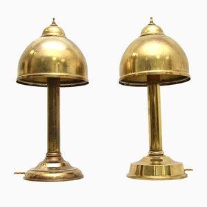 Lampade da tavolo vintage in ottone, set di 2