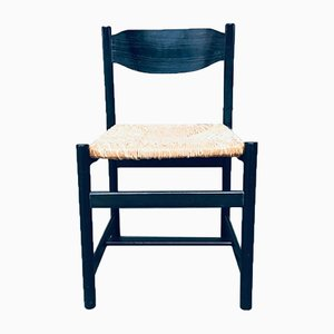 Black Stained Wood & Paper Cord Dining Chairs, 1970s, Set of 4