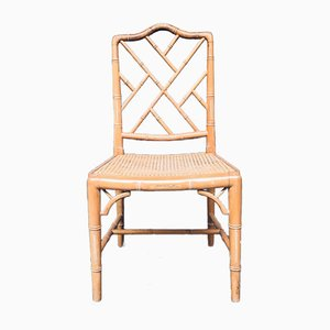 Chippendale Style Faux Bamboo Dining Chair Set, 1970s, Set of 4