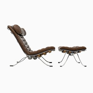 Ari Lounge Chair with Ottoman in Brown Leather by Arne Norell for Arne Norell AB, Set of 2