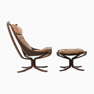 Falcon Lounge Chair and Ottoman by Sigurd Ressell for Vatne Møbler, Set of 2