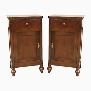 Louis Philippe Walnut Bedside Tables, Italy, 19th Century, Set of 2