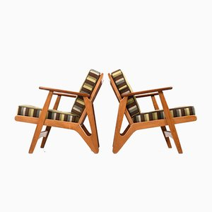 Danish Easy Chairs in Oak & Teak, 1950s, Set of 2