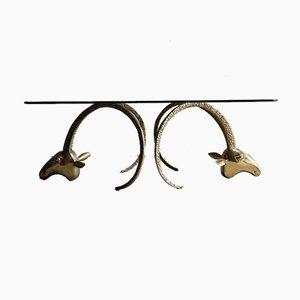 Vintage Messing Ibex Heads Couchtisch im Stil von Alain Chervet, Frankreich, 1970er