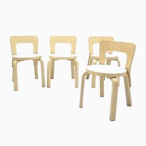 Model 65 Children Chairs in Patinated Birch by Alvar Aalto for Artek , Set of 4