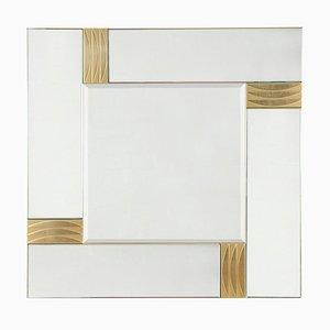 Specchio in ottone e vetro, anni '70