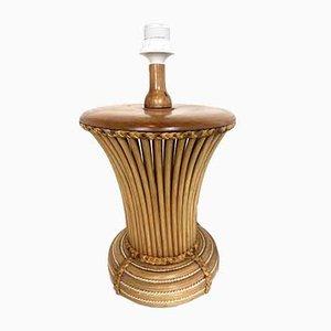 Lampada da tavolo Mid-Century in bambù, Italia, anni '70