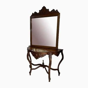 Louis Philippe Console with Mirror, Set of 2