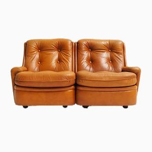 2-Seat Sofa in Leather by Michel Cadestin for Airborne