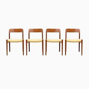 Mid-Century Danish Teak #75 Chairs by Niels O. Møller for J. L. Moller, Denmark, Set of 4