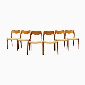 Mid-Century Danish Teak 71 Chairs by Niels Otto (N. O.) Møller for J. L. Møllers, Denmark, Set of 6