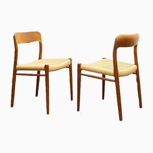 Mid-Century Danish Teak 75 Chairs by Niels Otto (N. O.) Møller for J. L. Møllers, Denmark, Set of 2