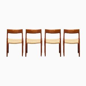Mid-Century Danish Teak 77 Chairs by Niels Otto (N. O.) Møller for J. L. Møllers, Denmark, Set of 4