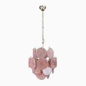 Lampadario vintage in vetro di Murano con 24 dischi rosa, Italia, anni '70