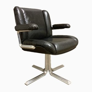 Black Leather & Aluminum Lounge Chair, 1960s