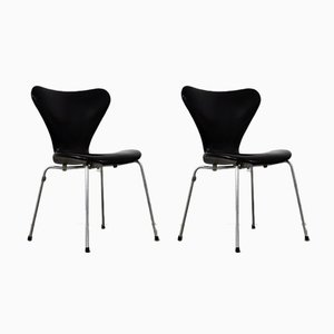 Leather 3107 Dining Chairs by Arne Jacobsen for Fritz Hansen, 1960s, Set of 2