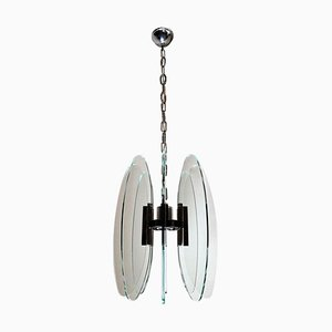 Vintage Italian Ceiling Lamp in Tempered Glass and Nickel Plated Brass in the Style of Fontana Arte
