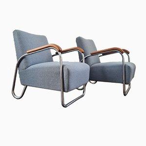 Bauhaus Armlehnstühle von Robert Slezak, Tschechische, 1940er, 2er Set
