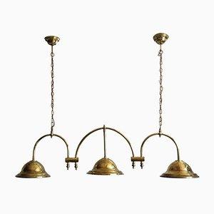 Englische Messing Deckenlampe, 1900er