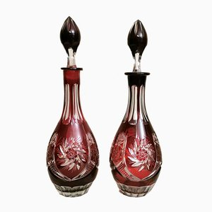Bohemia Biedermeier Style Ruby Red Cut and Grinded Crystal Bottles, Set of 2
