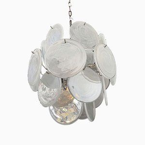 Vintage Italian Murano Chandelier with 24 White Disks, 1979