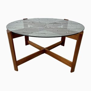 Vintage Round Teak Coffee Table with Smoked Glass Top