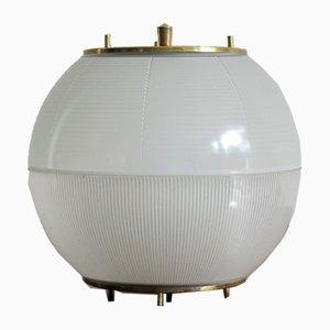 Lampe de Bureau en Verre et Laiton, Italie, 1960s
