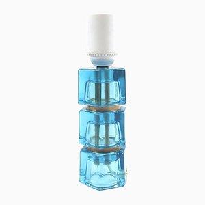 Blaue Tischlampe aus Glas von Carl Fagerlund für Orrefors, 1960er