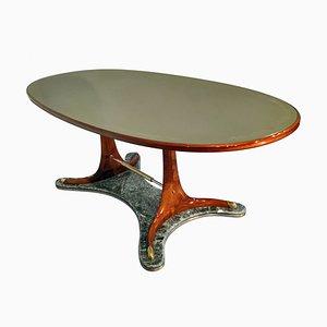 Tavolo da pranzo ovale Mid-Century in legno di Vittorio Dassi, Italia, anni '50