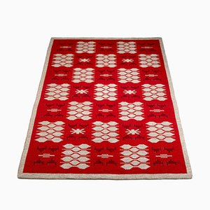 Red and Pale Gray Reversible Flatweave Rug in the Style of Ingegerd Silow, Sweden, 1960s
