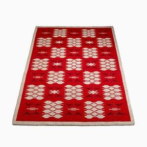 Tapis Réversible à Tissage Plat Rouge et Gris Pâle dans le Style d'Ingegerd Silow, Suède, 1960s
