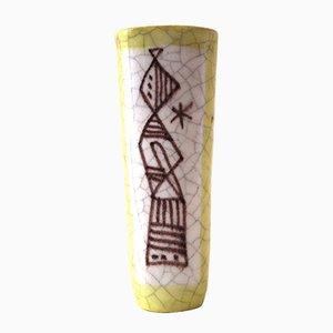 Jarrón de cerámica amarilla de Guido Gambone, años 60