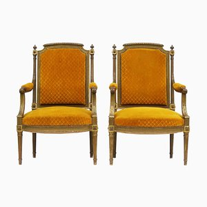 French Giltwood and Gesso Armchairs, 1950s, Set of 2