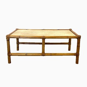 Coffee Table in Bamboo and Travertine, 1970s