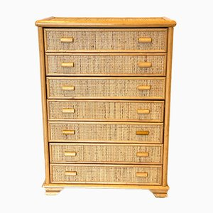 Chest of Drawers in Bamboo and Rattan, 1970s