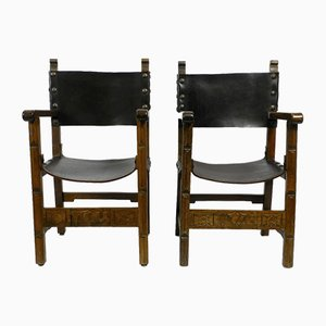 Large Spanish Knights Armchairs in Solid Wood and Core Leather, 1930s, Set of 2