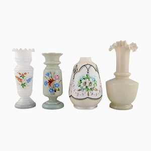 Antique Vases in Hand-Painted Mouth-Blown Opal Art Glass, 1900s, Set of 4