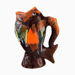 Jarra de cerámica esmaltada en forma de pez de Belgian Studio Ceramicist